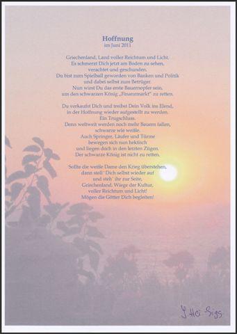Hoffnung Ein Gedicht Von Ingrid Heidrich Siggelaki
