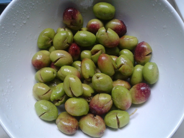 zerquetschte Oliven